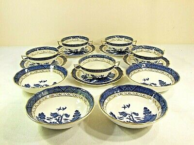 5 Soup Bowls And Saucers Plus 4 Dessert Bowls Of Booths 'real Old Willow' China • 79.99£