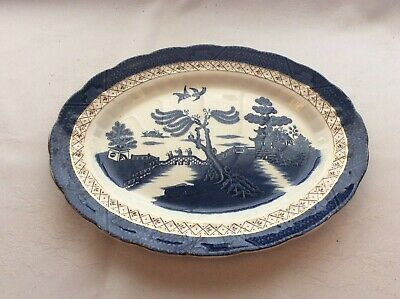 """Booths Real Old Willow A8025 Small Meat Platter 12""""x 9.5"""" In Good Condition • 18£"""
