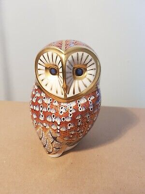 Royal Crown Derby Barn Owl Paperweight : 11cm, Gold Stopper - VGC • 29£