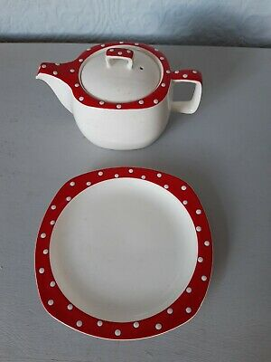 Vintage Midwinter Stylecraft Red Domino Side Plate & Teapot Excellent Condition • 4.50£