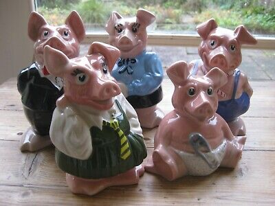 Set Of 5 NatWest Pigs By Wade Five Full Set Family With Original Stoppers. • 75£