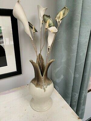 Penny Simpson Studio Pottery Vase With Pottery Flowers • 15£