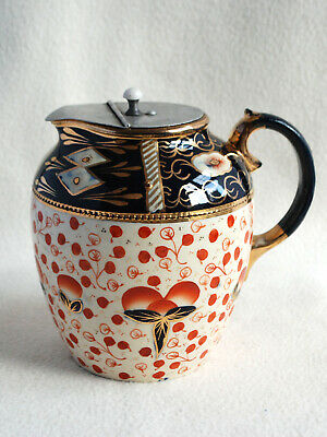 Antique Gaudy Welsh Pitcher, Jug With Pewter Lid Imari Oyster Pattern • 29.99£