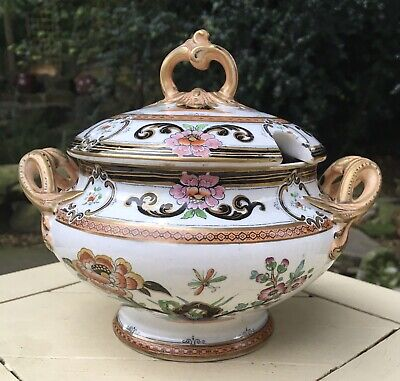 Brown Westhead Moore. Cauldon Sauce Tureen. Polychrome. Dragonfly Pattern • 25£