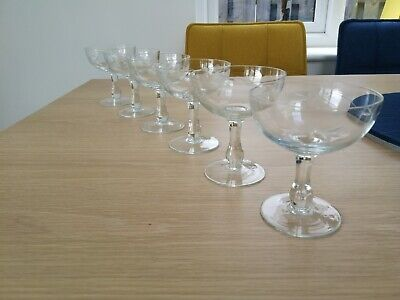 BEAUTIFUL SET Of 6 ART DECO CHAMPAGNE SAUCERS/COUPES VINTAGE C1930 • 60£
