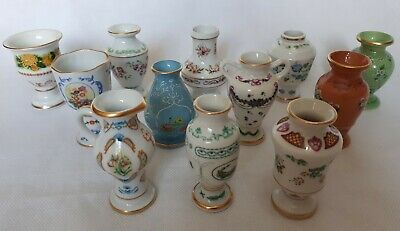 1982 Franklin Porcelain, 12x Miniature Vase Collection, Flowers Of The Month • 78£