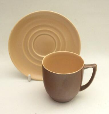 Branksome Pottery Poole Graceline Shape Coffee Cup & Saucer Pixie Brown & Sahara • 4.55£