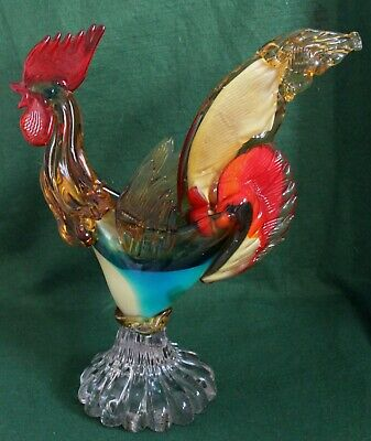 LARGE ITALIAN MURANO GLASS COCKEREL EXCELLENT COND 16  INCHES HIGH 4 Kg WEIGHT • 45£