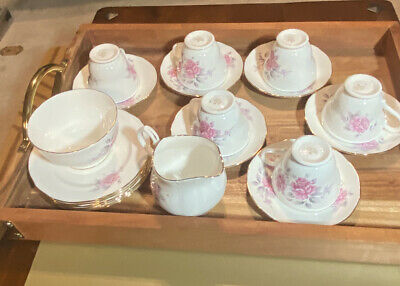 Vintage Duchess Bone China Tea Set For 6 Pink Roses And White. • 49.99£