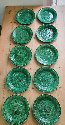 Early Antique Set Of 10 Wedgwood Green Majolica Plates Vine Leaf 1870 • 250£