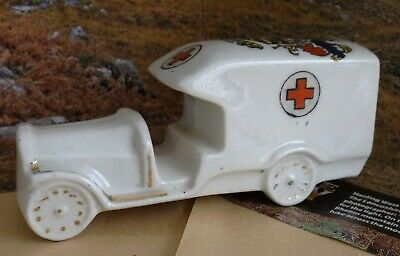 FINE CRESTED RARE CHINA ROLLS ROYCE AMBULANCE  1919  BLACKPOOL Crest • 40£