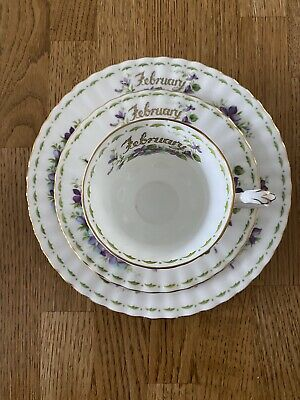 Royal Albert China 3 Piece Set-Flower Of The Month February - Read Description • 7.50£