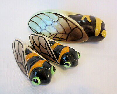 Large French Majolica 'LUCKY' CICADA WALL POCKET (Signed) With 2 Smaller Ditto.  • 10£