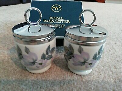 Royal Worcester Egg Coddlers Pair Boxed Large June Garland • 10.50£