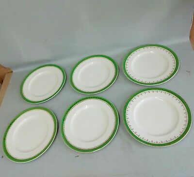 Alfred Meakin Round Dinner Plates Green Ironstone C1940's/1950's X 6 • 4.80£