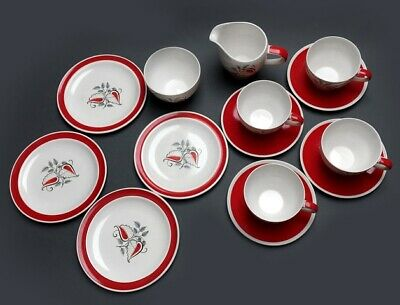 Wade Pottery Tea Set With A Fabulous Red White And Black Stylised Leaf Design  • 25£