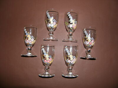 Vintage Hand Painted Floral Sherry / Shot Glasses. • 29.99£