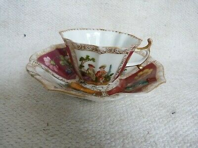 Very Fine Antique 19thc Helena Wolfsohn Dresden Hand Painted Cup And Saucer  • 4.99£