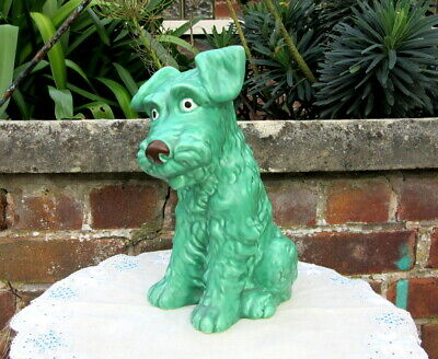 Large Green Sylvac STYLE Figure Of A Terrier * PATTERN 1380 * NO Makers' Marks  • 60£