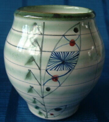 Vintage Rye Pottery England – Small Baluster Vase – Atomic Pattern – C.1955 • 39.99£