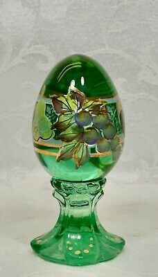 Fenton, Egg On Stand, Seamist Green Glass, Limited Edition, Hand Decorated. • 34.62£