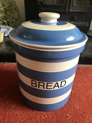 Cornishware T.G Green Pottery Bread Crock / Jar  Cloverleaf Blue / White • 80£