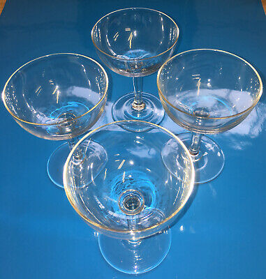 Vintage Champagne Coupes Hand Blown - Set Of Four • 12£
