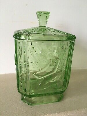 Vintage Green Sowerby Glass Art Deco Lady  Pandora's Box  Biscuit Jar And Lid • 9.99£