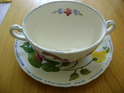 Simpsons Solian Ware   Handled Soup Bowl And Saucer    Unusual Design • 20£