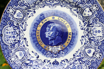 Antique Coalport Plate 1911 Coronation Of King George V And Queen Mary Blue • 49.99£