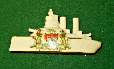 Arcadian Crested Ware China Ww1 Battleship With Bristol Crest • 15£
