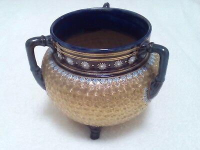 ANTIQUE ROYAL DOULTON 1904 Gilt & BLUE 3 Handled Camp Kettle 7 Inch High • 39.99£