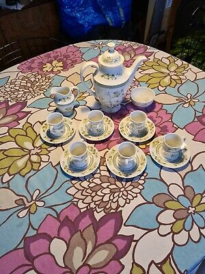 Royal Doulton Tonkin Coffee Set 6 Expresso Cups And Saucers Milk Jug Suger Bowl • 20£