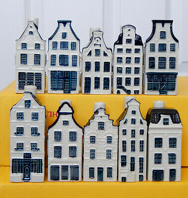 *** Lot Of TEN Different KLM Miniature Pottery Houses - Blue Delft Style *** • 62£