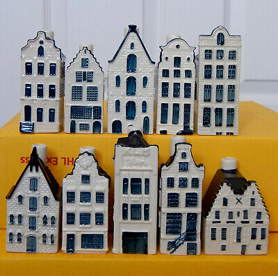 *** Lot Of TEN Different KLM Miniature Pottery Houses - Blue Delft Style *** • 41£