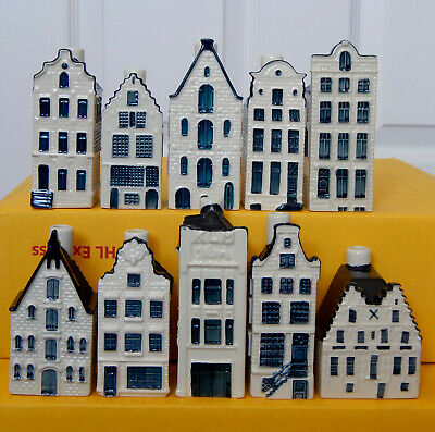 *** Lot Of TEN Different KLM Miniature Pottery Houses - Blue Delft Style *** • 9.99£