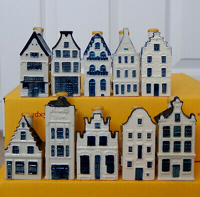*** Lot Of TEN Different KLM Miniature Pottery Houses - Blue Delft Style *** • 10.50£