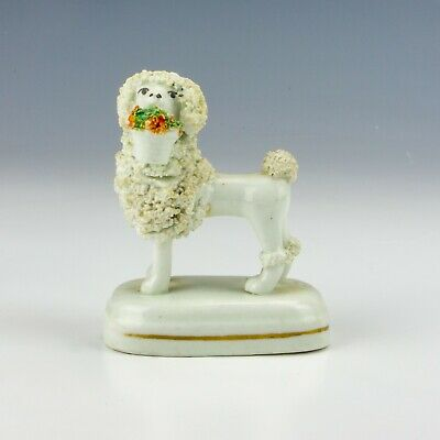 Antique Staffordshire Pottery - Woolly Poodle With Basket Figure - Unusual! • 0.99£