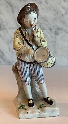 Early French Faience Strasbourg Hannong Drummer Boy Figure 1740-1760 • 189.53£