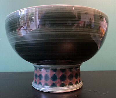 Stunning RARE Vintage Jersey Pottery Hand Thrown Modernist Footed Fruit Bowl • 32.50£
