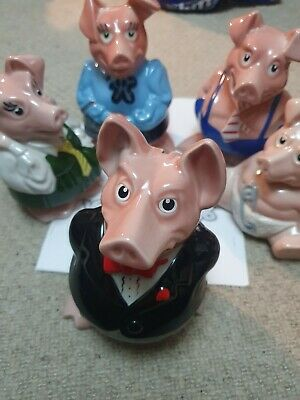 Natwest Pigs Full Set Of 5 Piggy Banks Wade With Stoppers And Article • 140£