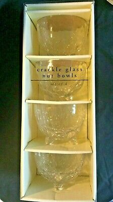 Crackle Glass Bowls X 4 Clear Glass Crackle Glass Nut Bowls Sweet Bowls Boxed • 6£