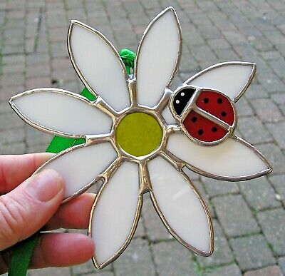Stained Glass Daisy Flower And Ladybird, Suncatcher Handmade In England • 36£