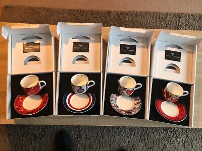 Set Of 4 Kealey Farmer Ltd Edition Bone China Cups & Saucers (Edition No.1) • 154£