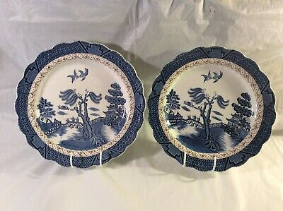 Vintage Booths Real Old Willow Set Of 2 Non Gilt 10.5 Inch Dinner Plates - VGC • 15£