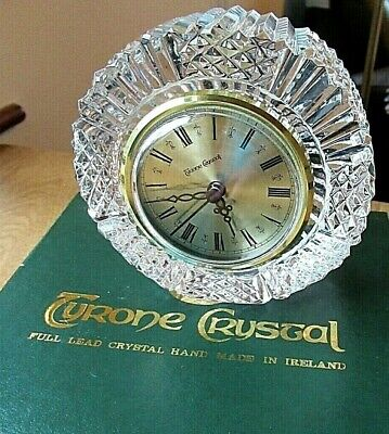 Vintage Tyrone Crystal Clock Drumreagh 10cms Boxed Label Signed • 15£