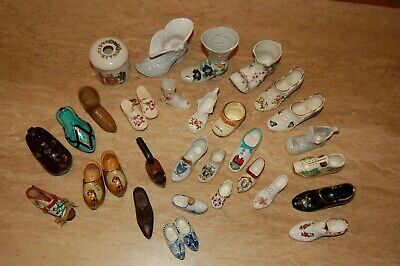 Collection Of Crested China, Vintage & Treen Shoes & Boots Plus Crested China Ha • 15£