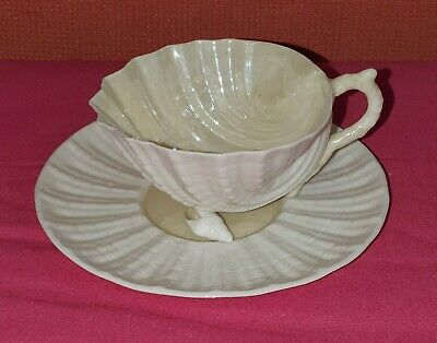 Vintage Belleek Shell Cup And Saucer • 19.99£