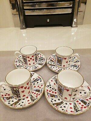 Set Of 4 Queens Fine Bone China, Cups & Saucers - Cut For Coffee Set • 4£