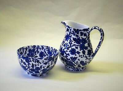 Burleigh 'Arden' Blue Patterned Pottery. Jug And Bowl. V.G.C. • 2.99£